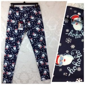 Santa Wearing Sunglasses Ankle Leggings Jrs M 7-9
